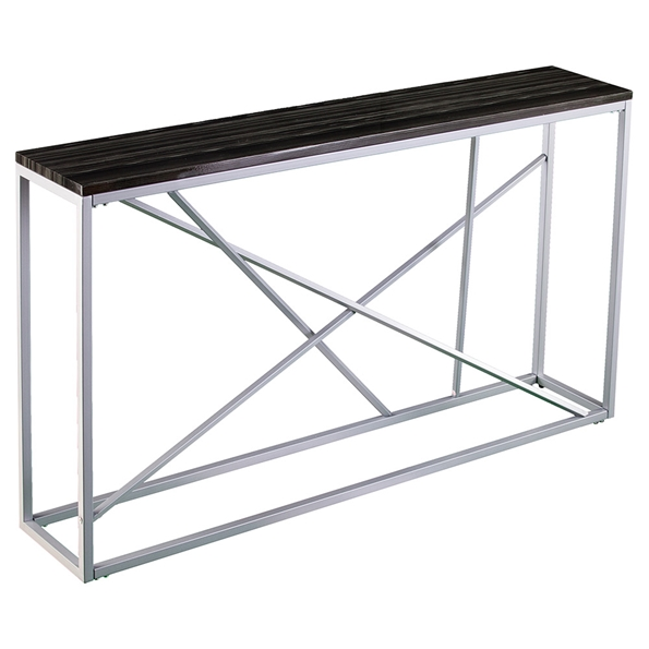 Accord Modern Silver + Faux Black Stone Top Console Table