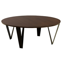 Ace Modern Round Walnut Cocktail Table by Saloom
