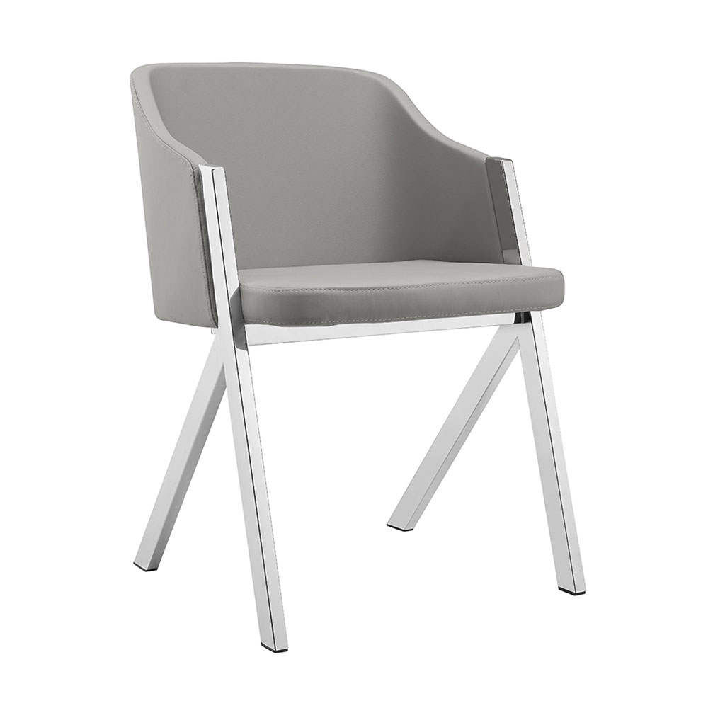 Acrostic Gray Faux Leather + Chrome Modern Arm Chair