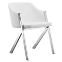 Acrostic White Faux Leather + Stainless Steel Modern Arm Chair