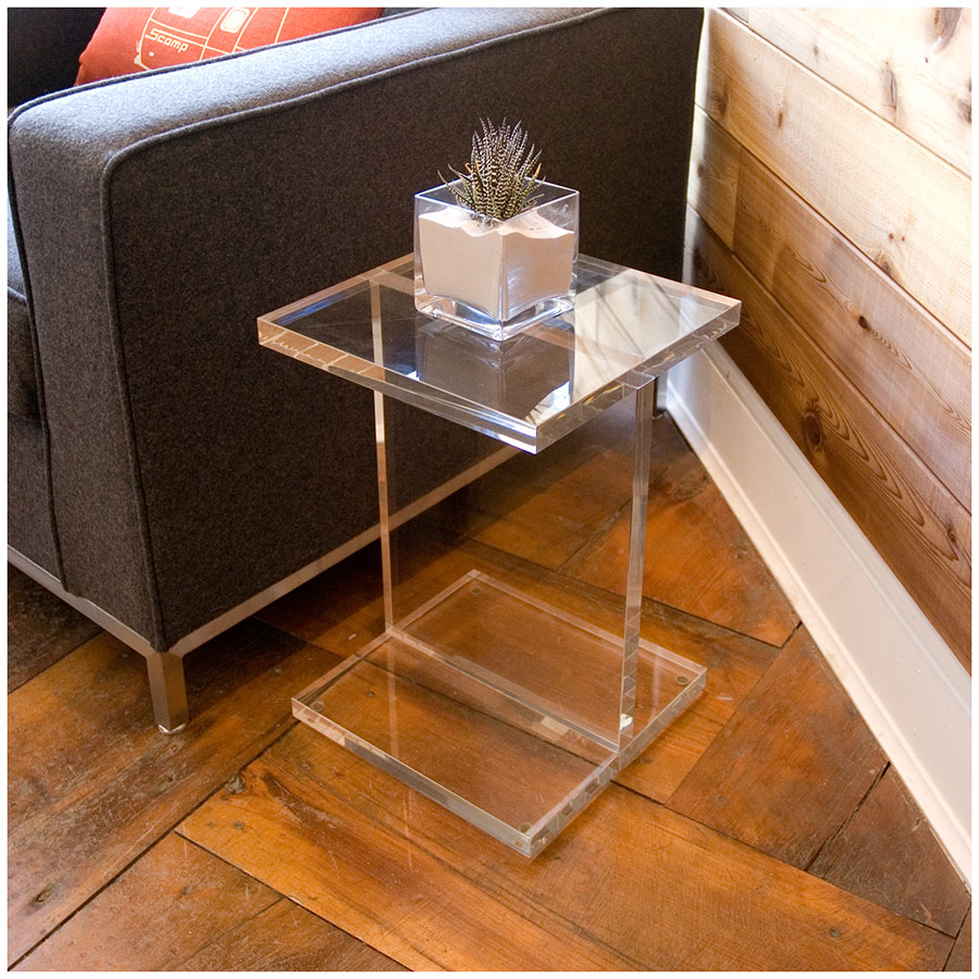 gus modern acrylic ibeam end table  eurway -  acrylic side table by gus modern