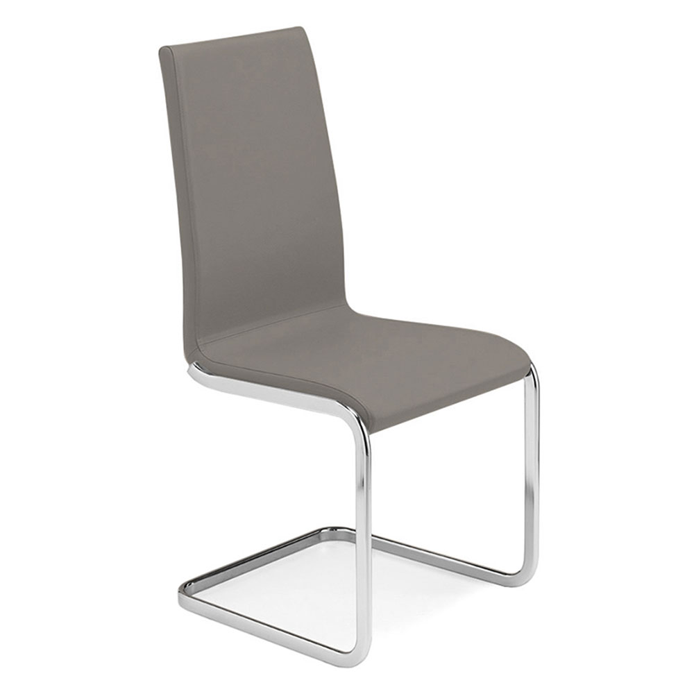 Addison Taupe Italian Leather Modern Dining Chair