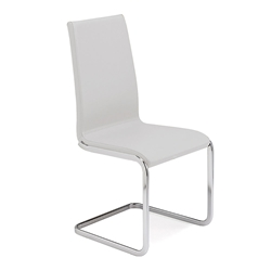 Addison White Italian Leather Modern Dining Chair