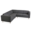 Adelaide Bi-Sectional Contemporary Sofa in Andorra Pewter Fabric by Gus* Modern
