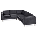 Adelaide Bi-Sectional Contemporary Sofa in Velvet Mercury Fabric by Gus* Modern