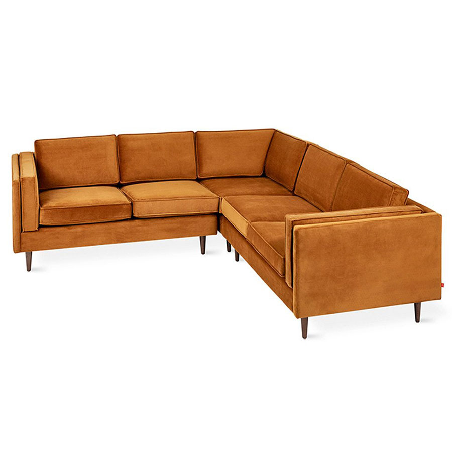 Adelaide Bi-Sectional Contemporary Sofa in Velvet Rust by Gus* Modern