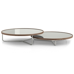 Modloft Adelphi Modern Nesting Coffee Tables in Ice Glass