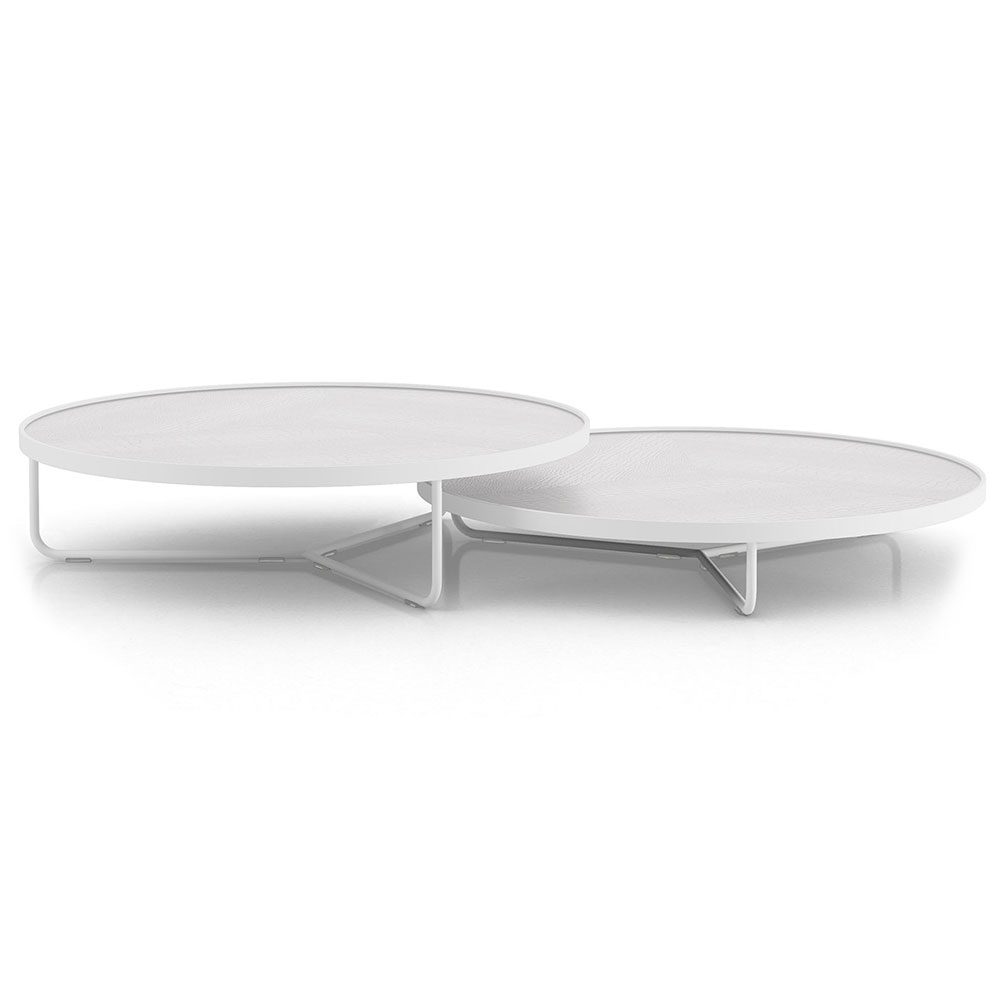 Modloft Adelphi Modern Nesting Coffee Tables in White Crocco Reclaimed Leather
