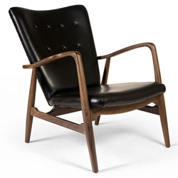 Adelle Black Leather + Walnut Wood Mid Century Modern Arm Chair