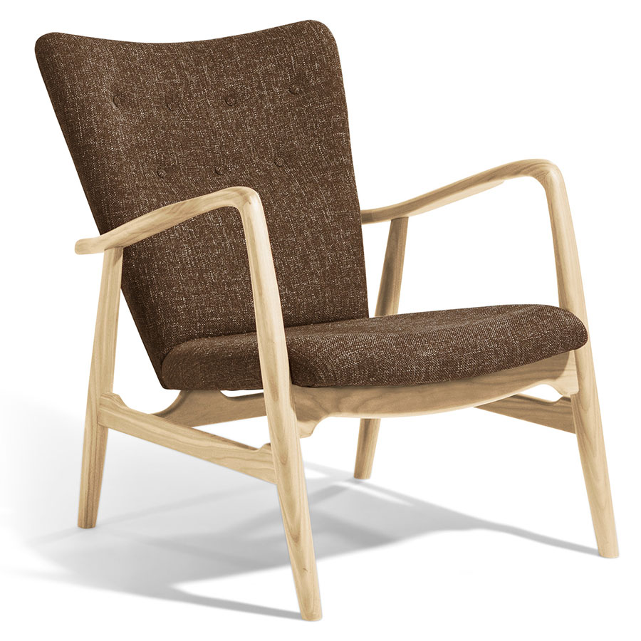Call To Order · Adirondack Brown Fabric + Ash Wood Mid Century Modern Arm  Chair