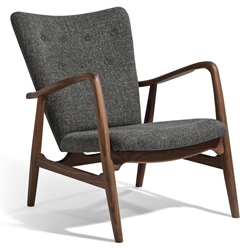Adelle Gray Fabric + Walnut Wood Mid Century Modern Arm Chair