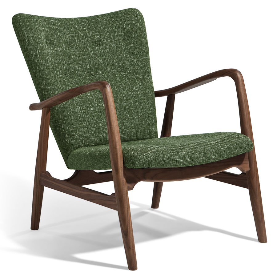 Superieur Call To Order · Adirondack Green Fabric + Walnut Mid Century Modern Arm  Chair