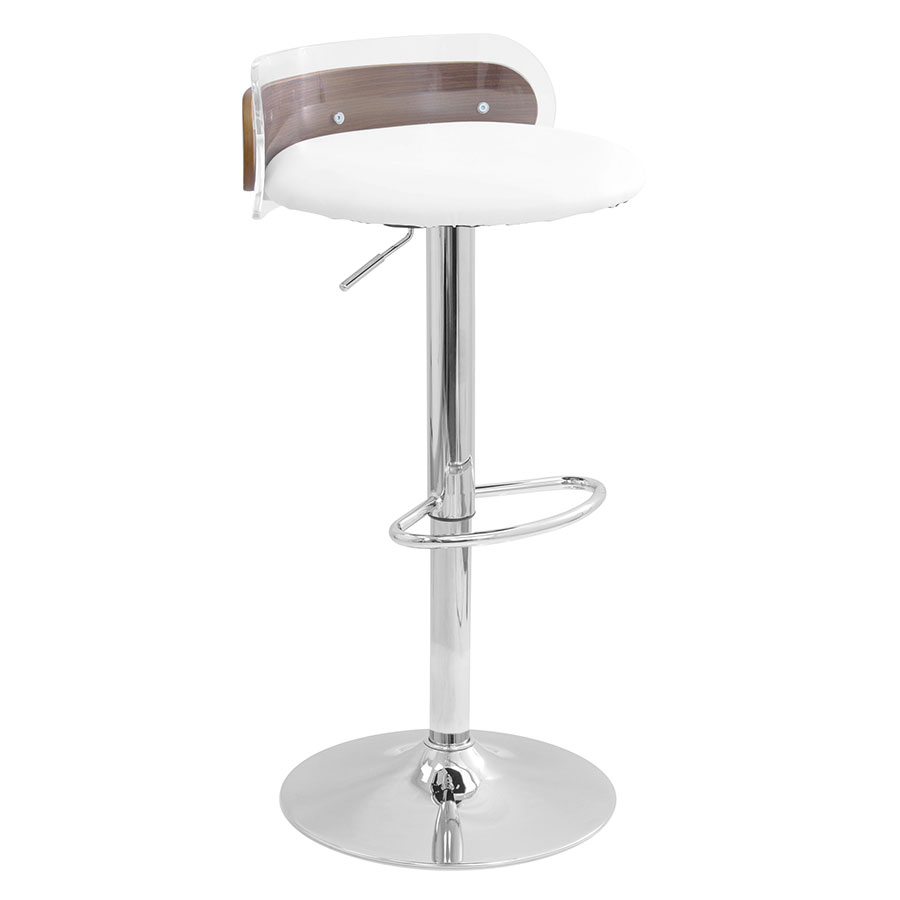 Adjorn White Leatherette + Clear Acrylic + Chrome + Walnut Wood Contemporary Adjustable Height Bar +  sc 1 st  Eurway & Adjorn Clear Acrylic + Walnut Modern Adjustable Stool islam-shia.org