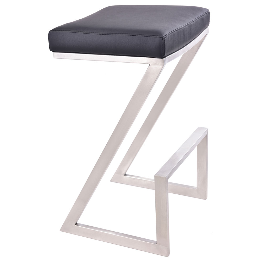 Adrian Black + Brushed Steel Modern Backless Bar Stool