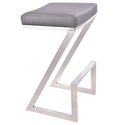 Adrian Gray + Brushed Steel Modern Backless Bar Stool