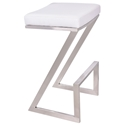 Adrian White + Brushed Steel Modern Backless Bar Stool
