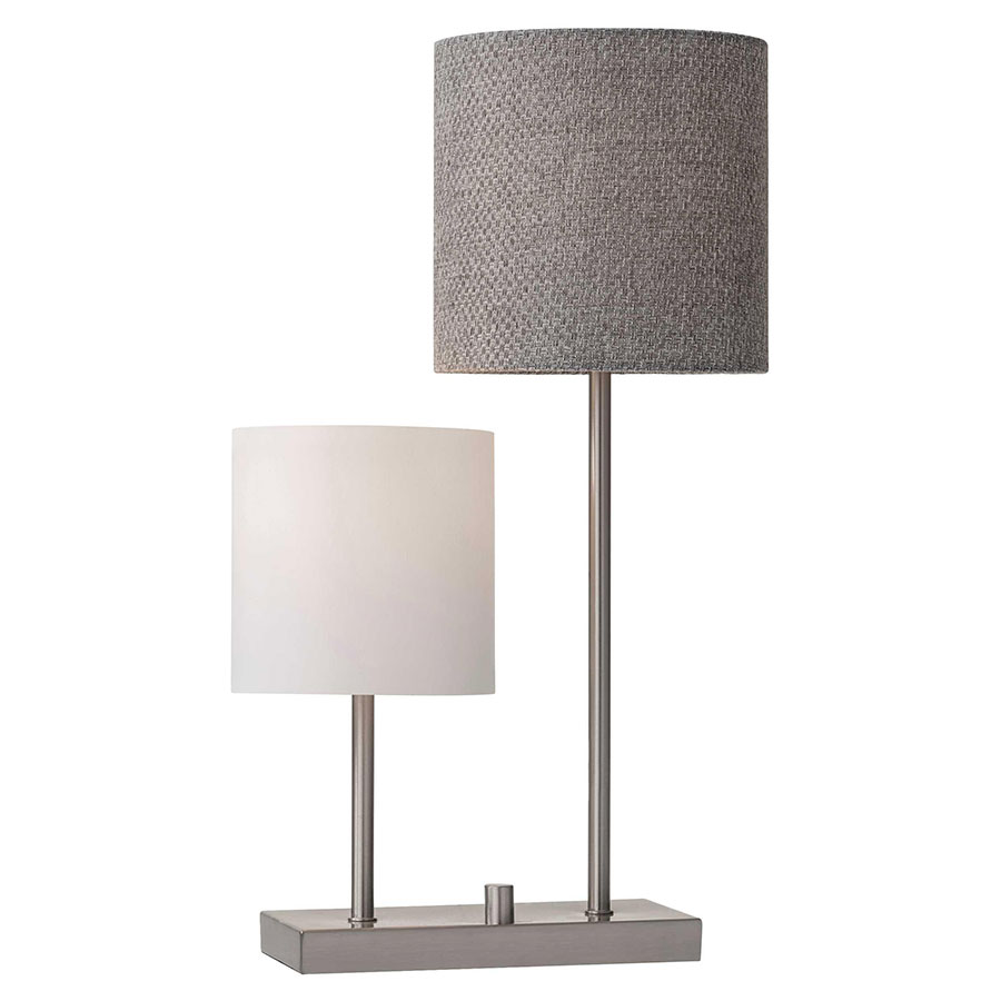 Agathon Brushed Steel Metal Base Contemporary Table Lamp With White Linen Shade and Gray Woven Fabric Shade