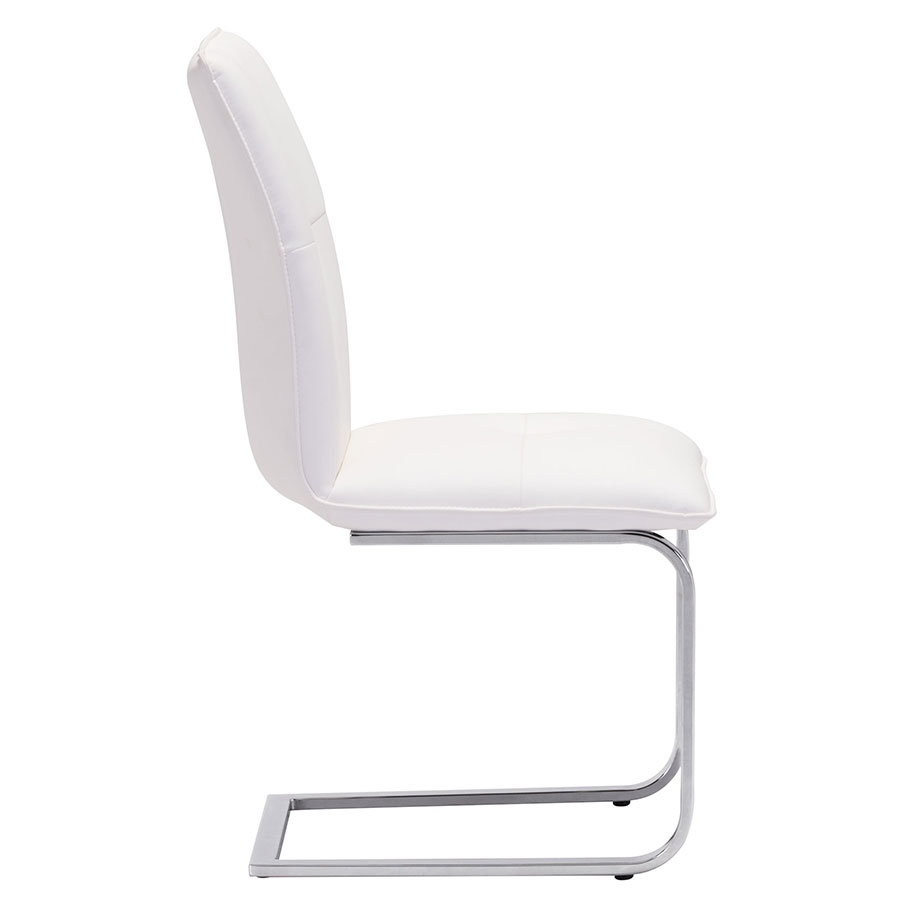 Agda White Leatherette Modern Dining Chair