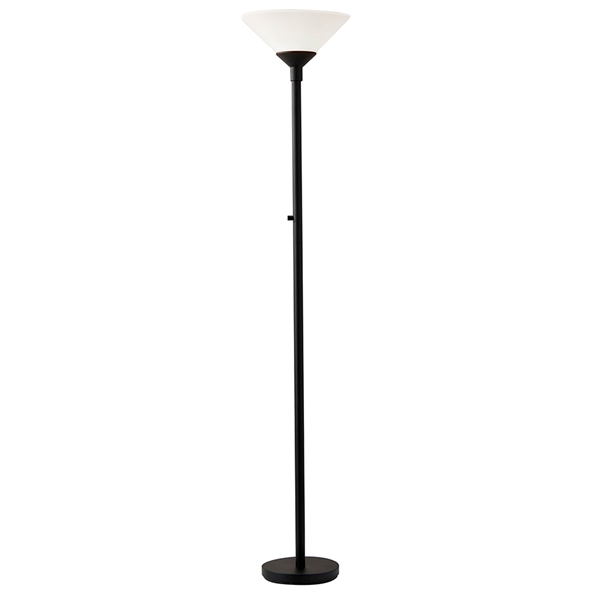 Agea Modern Torchier Floor Lamp in Black