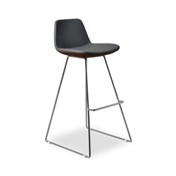 Agoura Gray Leatherette Modern Bar Stool