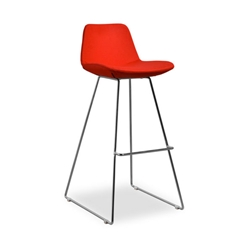 Agoura Red Wool Modern Classic Bar Stool