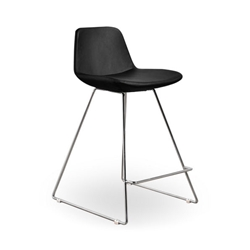 Agoura Black Leatherette Modern Classic Counter Stool