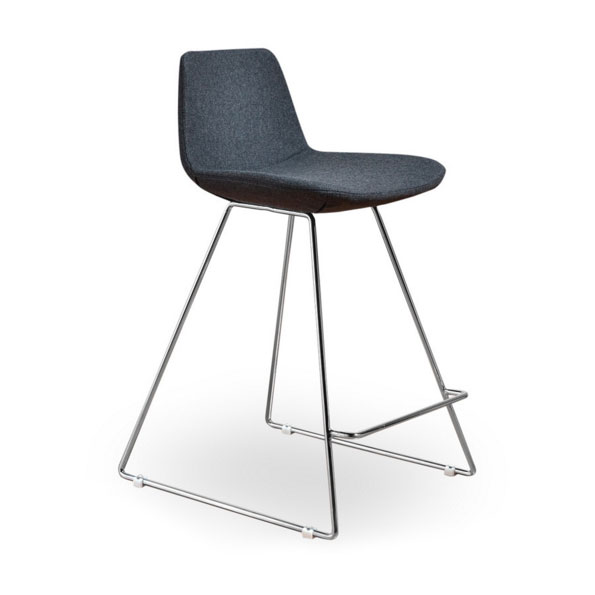 Agoura Gray Wool Modern Classic Counter Stool