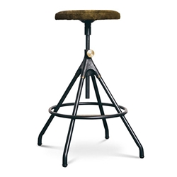Akron Jin Green Leather + Black Steel Contemporary Adjustable Height Stool