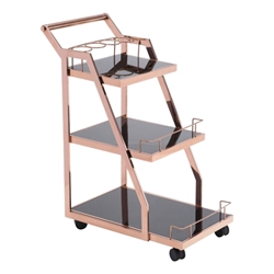 Alanis Modern Serving Cart in Rose Gold Stainless Steel and Black Tempered Glass