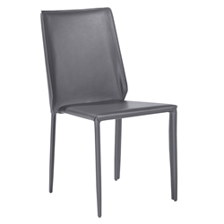 Andes Dark Gray Leatherette Upholstered Modern Dining Side Chair