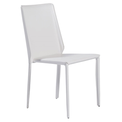 Andes White Leatherette Upholstered Modern Dining Side Chair