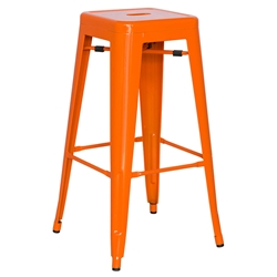 Alfredo Modern Indoor Outdoor Bar Stool in Orange