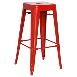 Alfredo Modern Indoor Outdoor Bar Stool in Red