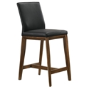 Algarve Modern Black + Walnut Leather Counter Stool