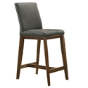 Algarve Modern Grey + Walnut Leather Counter Stool