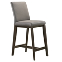Algarve Modern Light Grey + Espresso Leather Counter Stool