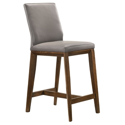 Algarve Modern Light Grey + Walnut Leather Counter Stool