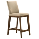 Algarve Modern Light Mocha + Walnut Leather Counter Stool