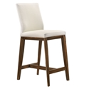 Algarve Modern White + Walnut Leather Counter Stool