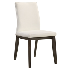 Algarve Modern White + Espresso Leather Dining Chair