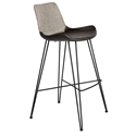 Alisa Light Gray Gray Fabric / Leatherette + Black Powder Coated Steel Modern Bar Stool