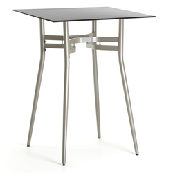 Alistair Black Glass + Metal Modern Bar Height Table
