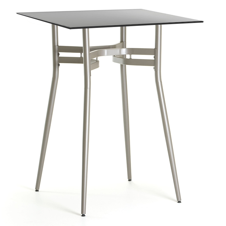 Awesome Alistair Black Glass + Metal Modern Bar Height Table