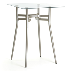 Alistair Clear Glass + Metal Modern Bar Height Table