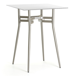 Alistair White Glass + Metal Modern Bar Height Table