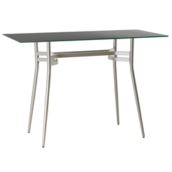Alistair Black Glass + Metal Long Modern Bar Height Table