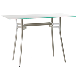 Alistair White Glass + Metal Long Modern Bar Table