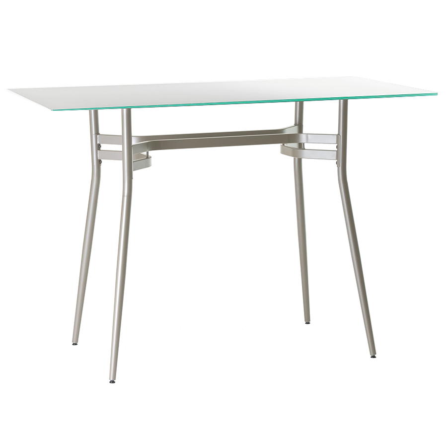 alistair long white bar table  eurway furniture - alistair white glass  metal long modern bar table