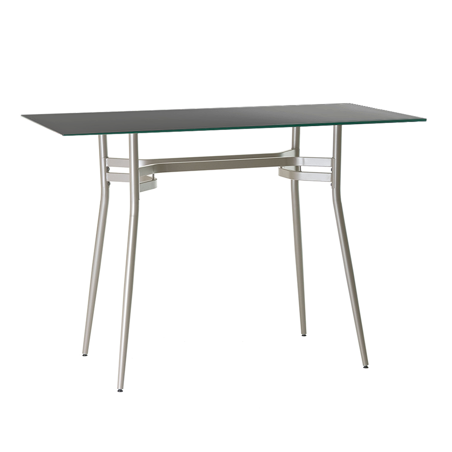 Alistair Black Glass + Metal Long Modern Counter Height Table