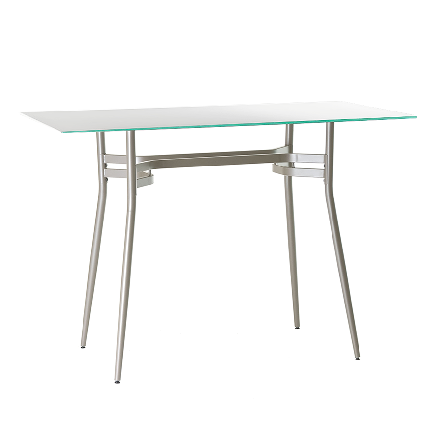 Alistair White Glass + Metal Modern Long Counter Height Table